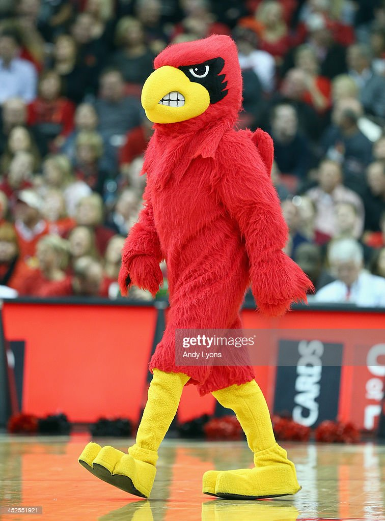 The Louisville Cardinals mascot performs during the game against the Southern Mississippi Golden Eagles at KFC YUM! Center on November 29, 2013 in Louisville, Kentucky.