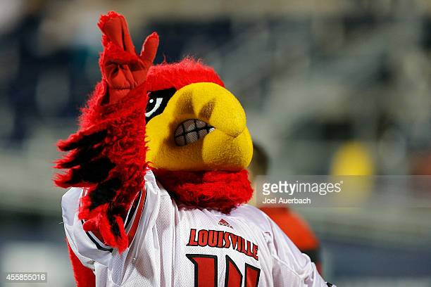 The Louisville Cardinals mascot waves to fans during second half action against the Florida International Panthers on September 20 2014 at FIU...