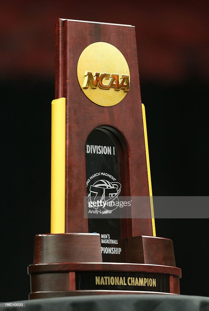 The Louisville Cardinals NCAA Championship trophy is pictured during the NCAA Basketball Celebration to mark the NCAA championship by the Mens team...