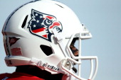 The Louisville Cardinals wore a special decal on their helmets in honor of Veterans Day during the game against the Pittsburgh Panthers at Papa...