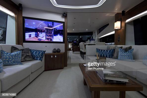 The lounge area of a Sunseeker 725 is displayed during the London Boat Show at ExCel on January 8 2016 in London England The London Boat Show taking...