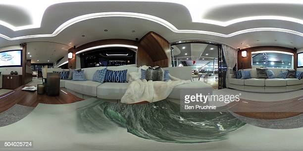 The lounge area of a Sunseeker 725 is displayed during the London Boat Show at ExCel on January 8 2016 in London England The London Boat Show is...