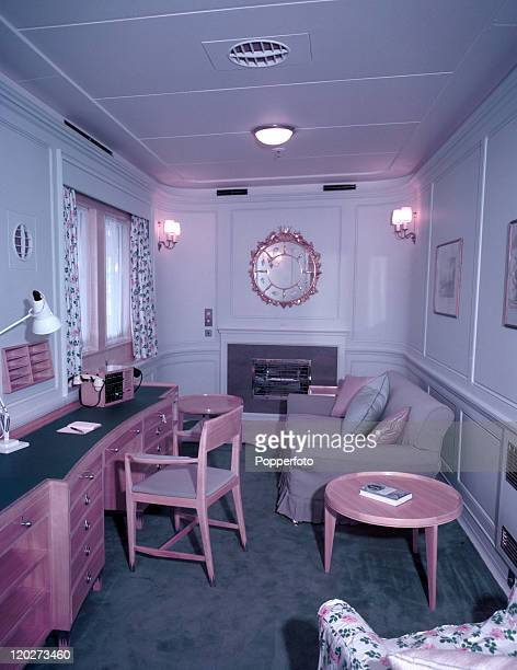 The lounge of Queen Elizabeth II on the Royal Yacht Britannia during her Royal Tour of Malta circa May 1954