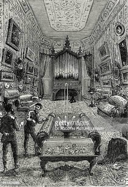 The lounge of the Nautilus illustration from 20000 Leagues under the Sea by Jules Verne