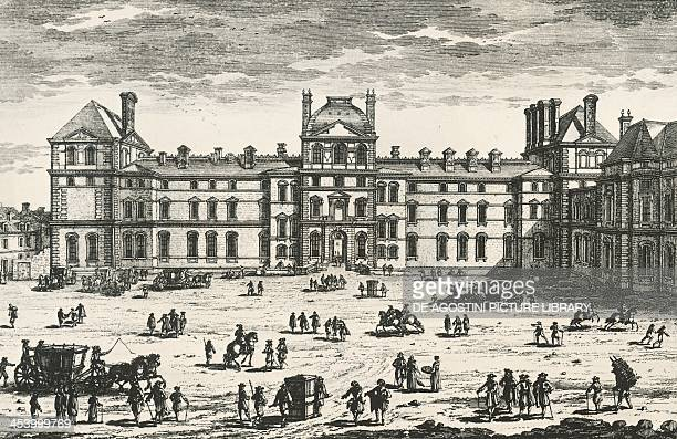 The Louvre in Paris at the time of Louis XIV facade overlooking Rue Frementeau drawing by Gabriel Perelle France 17th century Paris Bibliothèque...