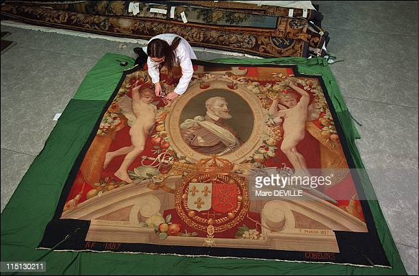 The Louvre Museum Bringing the Gobelins tapestries back to life in Paris France on February 19 2003 Atelier Chevalier Preservation Charlotte Piot...