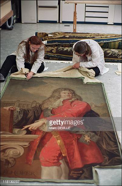 The Louvre Museum Bringing the Gobelins tapestries back to life in Paris France on February 19 2003 Atelier Chevalier Preservation Gaelle Anne and...
