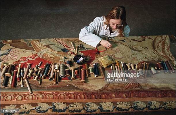 The Louvre Museum Bringing the Gobelins tapestries back to life in Paris France on February 19 2003 Atelier Chevalier Preservation Carole restoration...