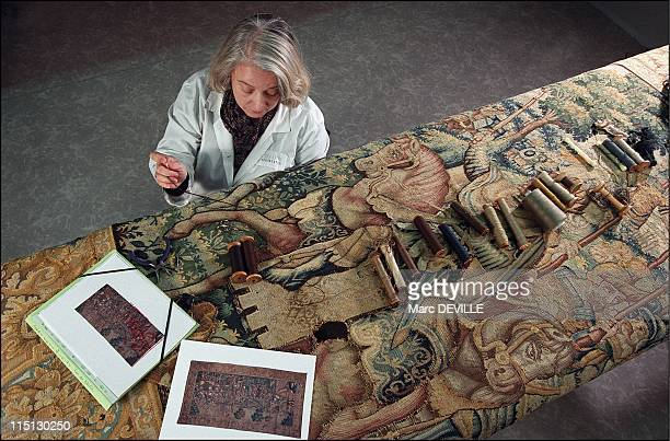 The Louvre Museum Bringing the Gobelins tapestries back to life in Paris France on February 19 2003 Atelier Chevalier Preservation Tamara a member of...