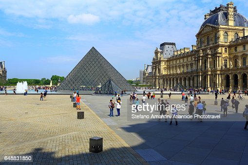 The Louvre, the pyramid : Stock Photo