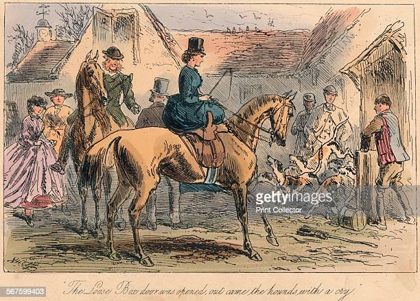 'The Love Box door was opened out came the hounds with a cry' 1865 From Mr Facey Romford's Hounds written by Robert Smith Surtees illustrated by John...
