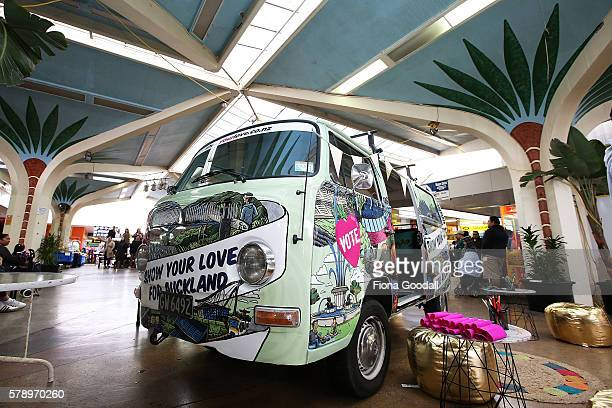The Love Bus parked in Mangere Town Centre on July 23 2016 in Auckland New Zealand The van is part of Auckland Council's 'show your love for...