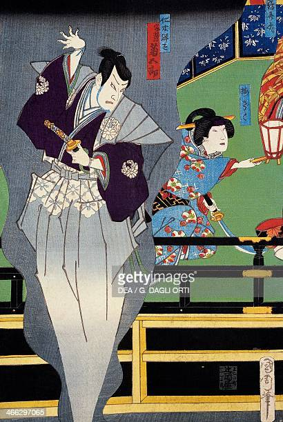 The lover spying on his beloved 19th century ukiyoe art print from the Kabuki theatre series woodcut Japanese civilisation Edo period 17th19th century
