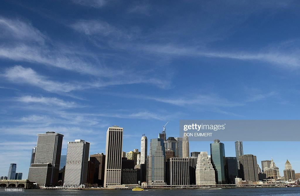The lower Manhattan skyline in a photo taken from Brooklyn Bridge Park January 10, 2013 in New York.