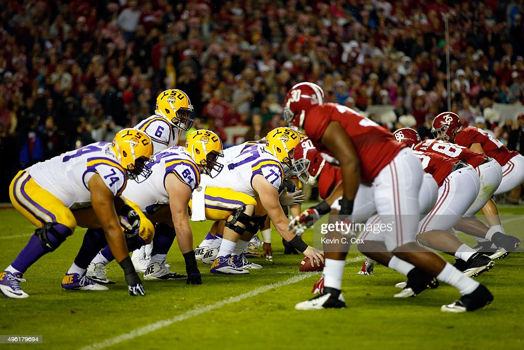 The LSU Tigers offense lines up against the Alabama Crimson Tide defense in the second quarter at BryantDenny Stadium on November 7 2015 in...