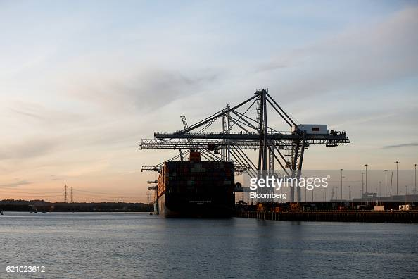 The Ludwigshafen Express container vessel operated by HapagLloyd AG sits dockside during unloading operations at the container terminal operated by...