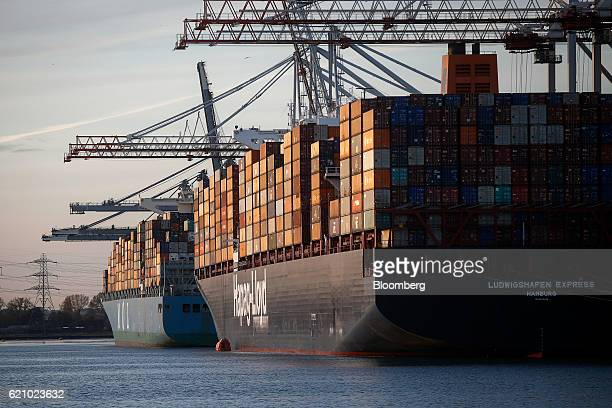 The Ludwigshafen Express container vessel operated by HapagLloyd AG right sits alongside the Brilliance container vessel operated by Mitsui OSK Lines...
