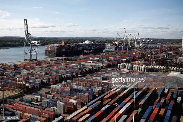 The Ludwigshafen Express container vessel operated by HapagLloyd AG docks at the container terminal operated by DP World Ltd at the Port of...