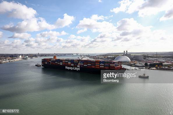 The Ludwigshafen Express container vessel operated by HapagLloyd AG prepares to dock at the container terminal operated by DP World Ltd at the Port...