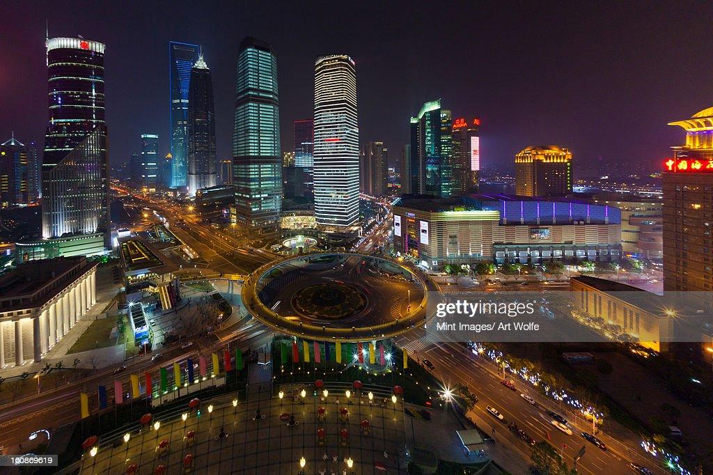 The Lujiazui Traffic Circle, night, Shanghai, China : Stock Photo