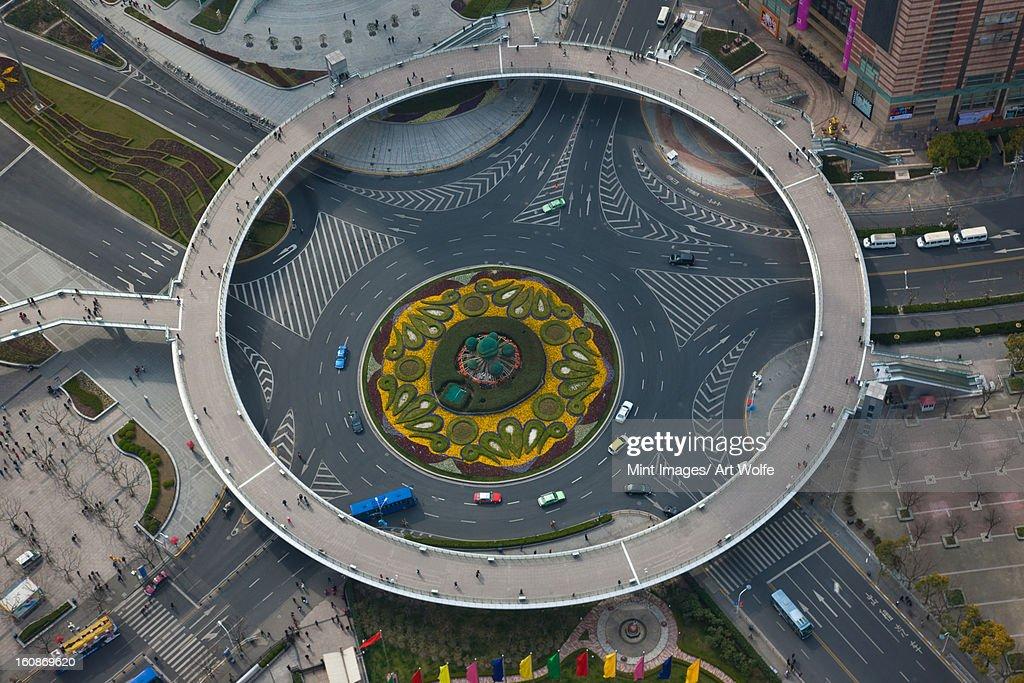 The Lujiazui Traffic Circle, overhead view, Shanghai, China : Stock Photo