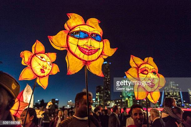 The Luminous Lantern Parade on June 10 2016 in Brisbane Australia The annual parade is aimed at promoting multiculturalism and welcome new arrivals