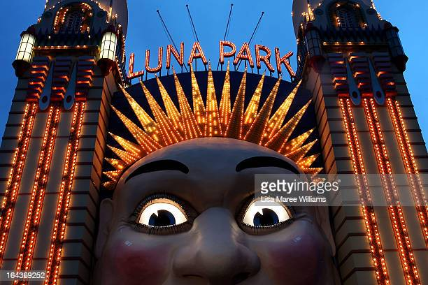 The Luna Park entrance is seen before the lights were switched off to recognize Earth Hour on March 23 2013 in Sydney Australia Businesses and...