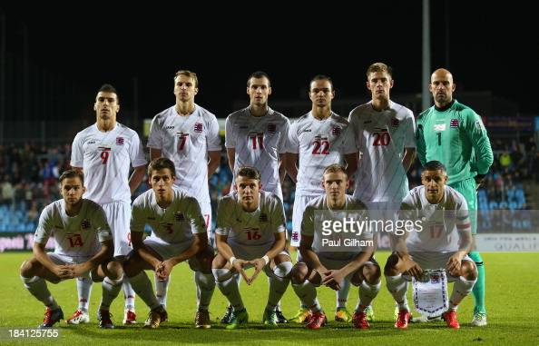 The Luxembourg team line up together before the start the FIFA 2014 World Cup Qualifier Group F match between Luxembourg and Russia at the Josy...