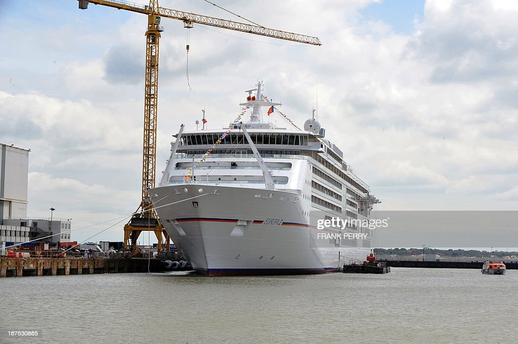 The luxury Europa 2 cruise liner is moored at the STX Europe shipyard in Saint Nazaire on April 26, 2013. The ship has been handed today to her German shipowner Hapag Lloyd Cruises.