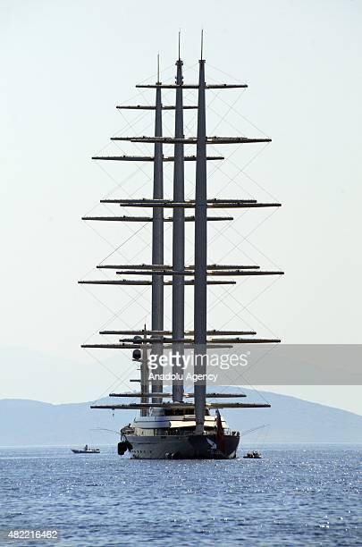 The luxury sail yacht of Greek businesswoman Elena Ambrosiadou The Maltese Falcon anchors near Yalikavak neighbourhood in Bodrum district of Turkey's...