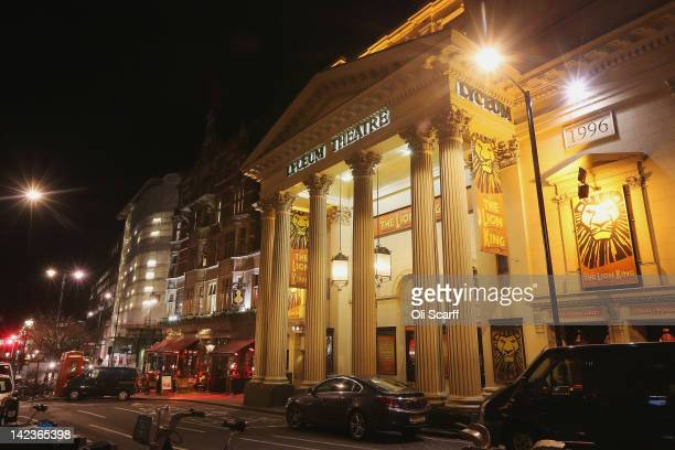 The Lyceum Theatre in the West End showing 'The Lion King' at night on March 27 2012 in London England