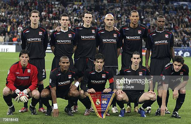 The Lyon team lineup before the UEFA Champions League Group E match between Real Madrid and Olympique Lyon at the Santiago Bernabeu stadium on...