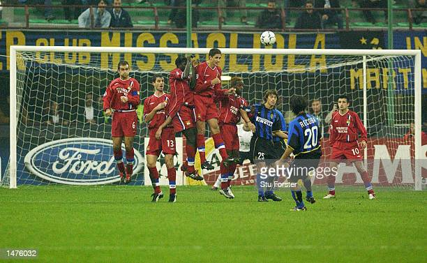 The Lyon wall attempt to block a Recoba freekick during the UEFA Champions League First Phase Group C match between Inter Milan and Lyon at the San...