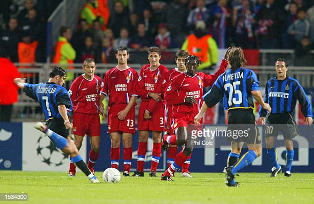 The Lyon wall faces Sergio Conceicao of Inter Milan's freekick during the UEFA Champions League First Phase Group D match between Lyon and Inter...