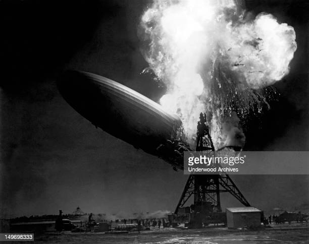 The LZ 129 Hindenburg airship as it caught fire and was destroyed within a minute while attempting to dock at the Lakehurst Naval Station Lakehurst...