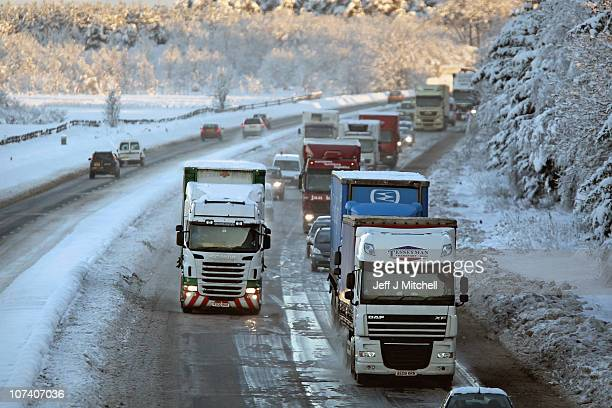 The M8 west bound motorway reopens after being closed for nearly two days on December 8 2010 in Harthill Scotland Work continues to keep the main...