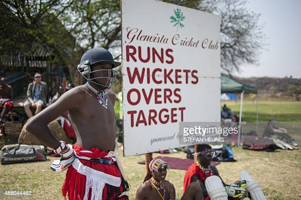 The Maasai Warriors cricket team get ready for a cricket match between Maasai Warriors and Glenvista Cricket Club invitational side at the...