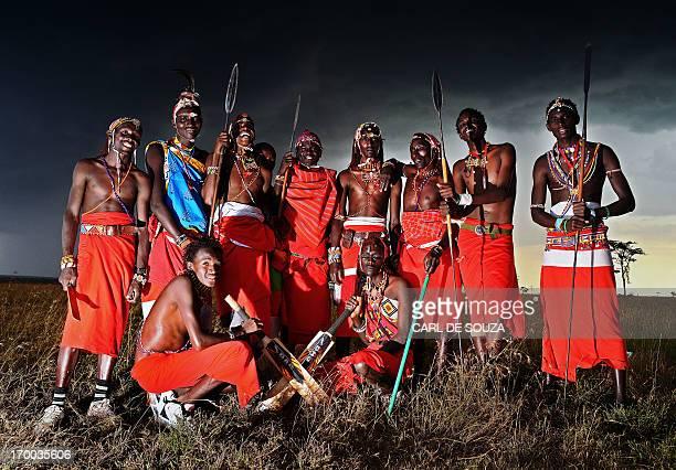 The Maasai Warriors cricket team pose after their Twenty twenty match against an international cricket team The Ambassadors in Ol Pejeta conservency...