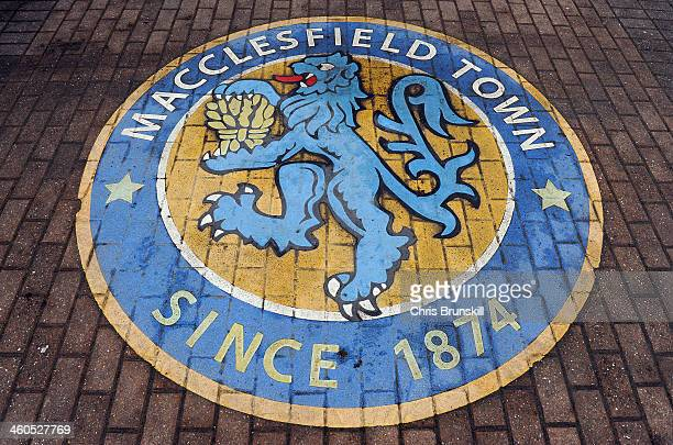 The Macclesfield Town club crest outside Moss Rose during the FA Cup with Budweiser Third Round match between Macclesfield Town and Sheffield...