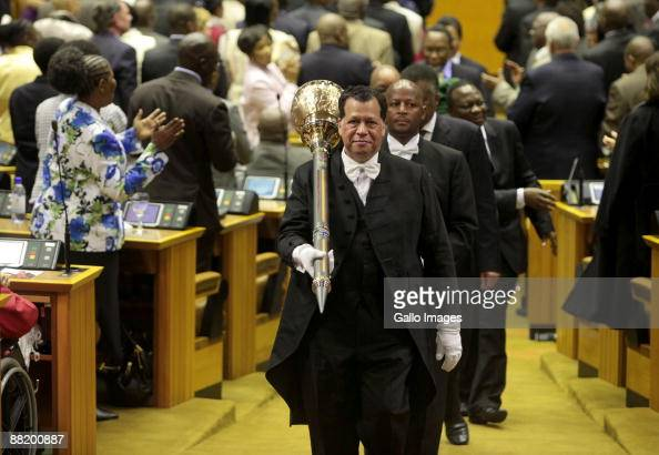 The mace is carried in Paliament during President Jacob Zuma's presentation of his State of the Nation Address at a joint sitting of the National...