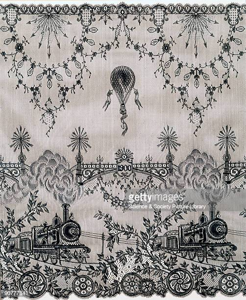 The machinemade lace features symbols of modern progress a steam locomotive an electric telegraph and electric lights a hot air balloon and a...