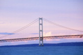 The Mackinac Bridge at dusk in upper peninsula Michigan