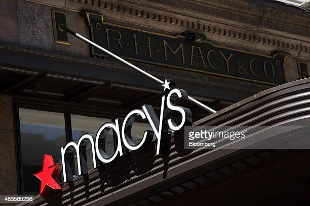 The Macy's Inc logo is displayed outside a department store in New York US on Monday August 10 2015 Macy's Inc the largest US departmentstore company...