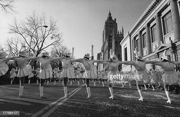 The Macy's Thanksgiving Day Parade passes Central Park West New York City November 1982