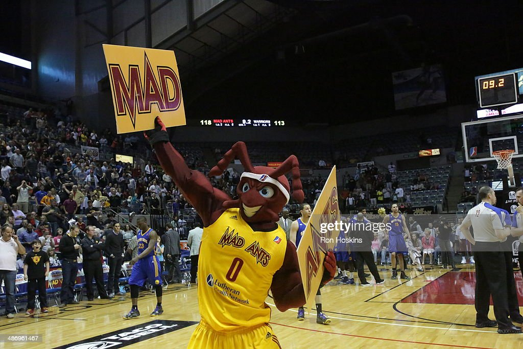 The Mad Ant, mascot of the Fort Wayne Mad Ants performs during game two of the National Basketball Developmental League Finals at Allen County Memorial Coliseum on April 26, 2014 in Fort Wayne, Indiana.