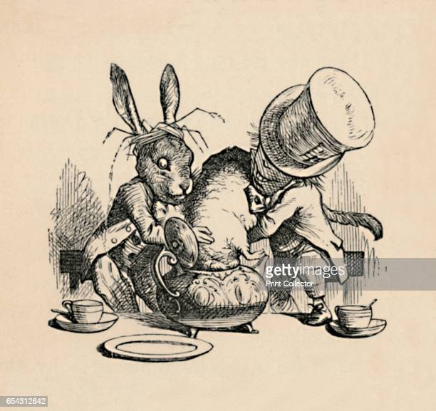 The Mad Hatter and March hare trying to put the Dormouse into a teapot 1889 Lewis Carrolls Alice in Wonderland as illustrated by John Tenniel From...