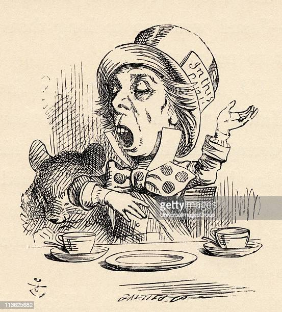 The Mad Hatter reciting his nonsense poem Twinkle Twinkle Little Bat Illustration by John Tenniel from the book Alices's Adventures in Wonderland by...