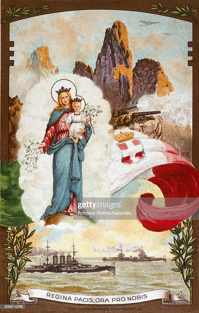 The Madonna with the Child protects the soldiers in the war at sea, in heaven and earth. Postcard of preservation. Chromolithography Doven, Turin. Edition A. Gay, Italy, Turin, 1916. 'Regina Pacis, ora pro nobis'