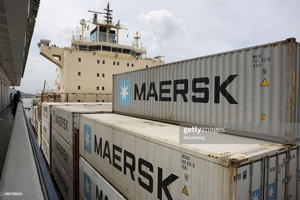 The Maersk container ship Bali passes through the Miraflores Locks at the Panama Canal near Panama City, Panama, on Wednesday, April, 23, 2014. Construction projects throughout Panama have remained idle since April 23, when workers walked off the job in an effort to win a 35 percent salary increase. The strike threatens to further delay the canals expansion, designed to accommodate larger ships and help reduce transport costs for commodities such as liquefied natural gas. Photographer: Susana Gonzalez/Bloomberg via Getty Images