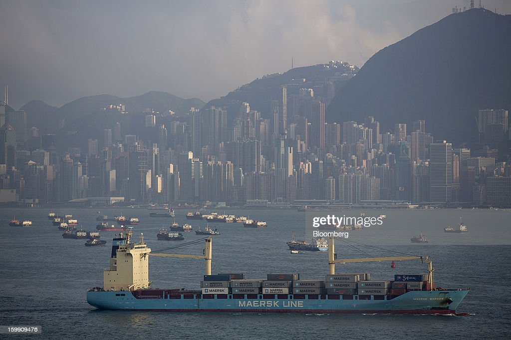 The Maersk Line Ltd. Maersk Warsaw container ship sails through Victoria Harbour in Hong Kong, China, on Monday, Jan. 21, 2013. Hong Kong is scheduled to release export figures for December on Jan. 24. Photographer: Jerome Favre/Bloomberg via Getty Images